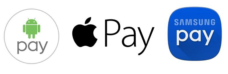 Логотипы Android Pay, Apple Pay и Samsung Pay